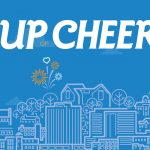 Dc Design House Cup of Cheer banner image, blue with outline of St. John's cityscape and It's Mental logo
