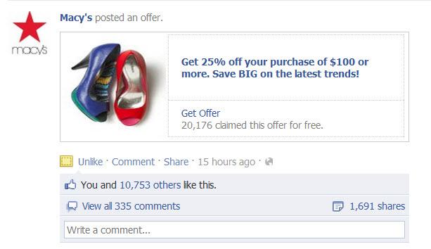 Macy's Facebook Offer